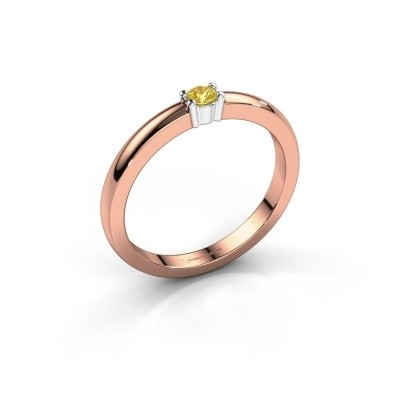 Foto van Promise ring Yasmin 1 585 rosé goud gele saffier 2.7 mm