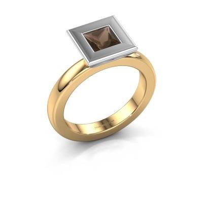 Foto van Stapelring Eloise Square 585 goud rookkwarts 5 mm