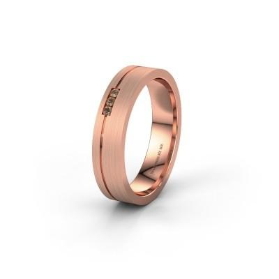 Trouwring WH0156L14X 585 rosé goud bruine diamant ±4x1.4 mm