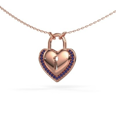 Picture of Necklace Heartlock 375 rose gold sapphire 1 mm