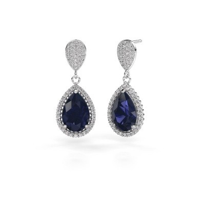 Picture of Drop earrings Cheree 2 950 platinum sapphire 12x8 mm