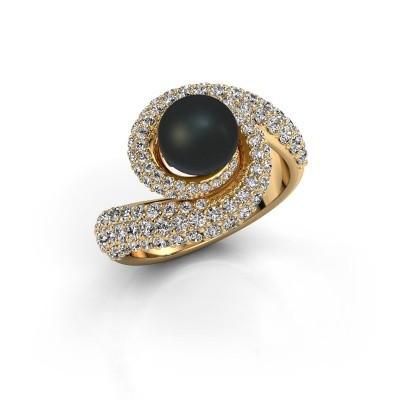 Foto van Ring Klasina 375 goud zwarte parel 7 mm