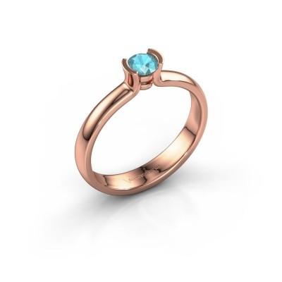 Foto van Verlovingsring Ophelia 585 rosé goud blauw topaas 4 mm