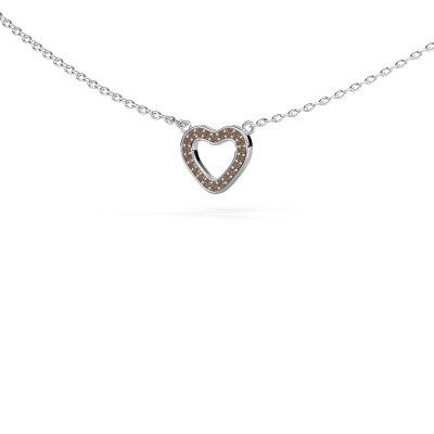 Picture of Pendant Heart 4 585 white gold brown diamond 0.055 crt