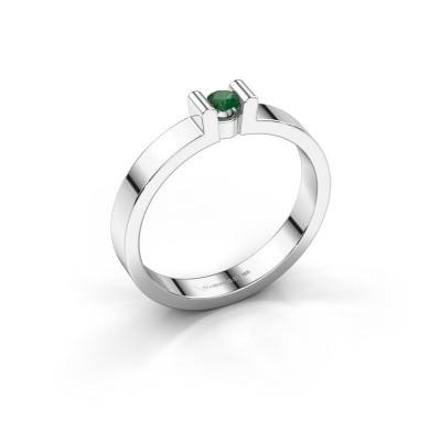 Foto van Verlovingsring Sofie 1 375 witgoud smaragd 3 mm
