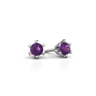 Picture of Stud earrings Shana 950 platinum amethyst 4 mm