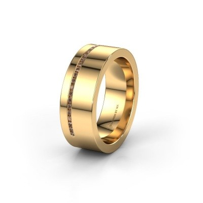 Trouwring WH0143L17BP 585 goud bruine diamant ±7x2 mm