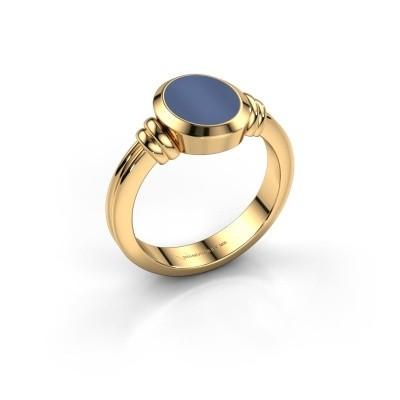 Foto van Pinkring Jake 1 585 goud blauw lagensteen 10x8 mm