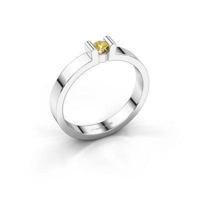Foto van Verlovingsring Sofie 1 925 zilver gele saffier 3 mm