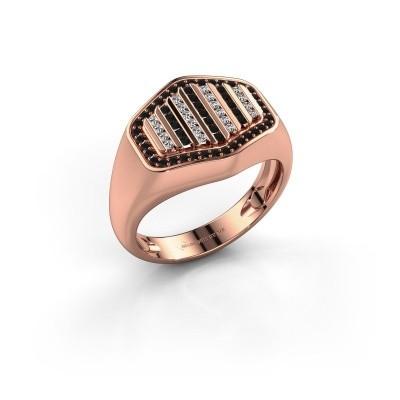 Foto van Heren ring Beau 375 rosé goud zwarte diamant 0.444 crt
