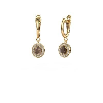 Picture of Drop earrings Nakita 750 gold smokey quartz 5x4 mm