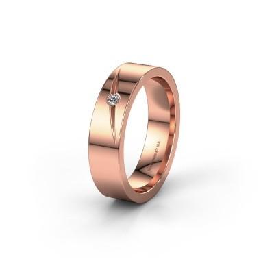 Trouwring WH0170L15A 585 rosé goud diamant ±5x1.7 mm