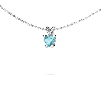 Picture of Necklace Sam Heart 950 platinum blue topaz 5 mm