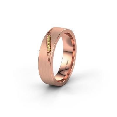 Trouwring WH2148L25AM 585 rosé goud gele saffier ±5x1.7 mm