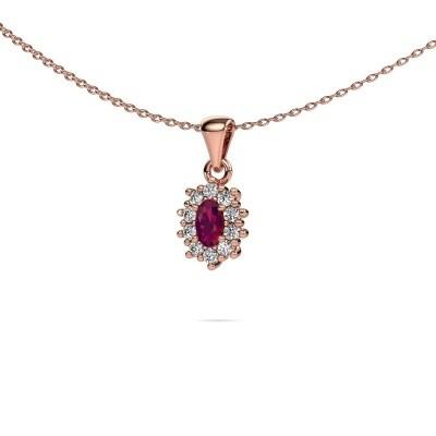 Picture of Necklace Leesa 375 rose gold rhodolite 6x4 mm