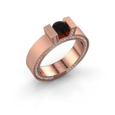 Foto van Ring Leena 2 375 rosé goud zwarte diamant 1.18 crt