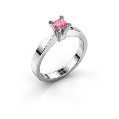 Foto van Verlovingsring Ichelle 1 950 platina roze saffier 4.2 mm