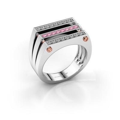 Foto van Heren ring Jauke 585 witgoud roze saffier 1.7 mm