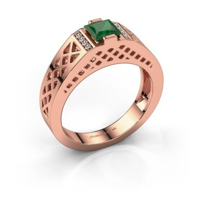 Foto van Heren ring Jonathan 585 rosé goud smaragd 5 mm