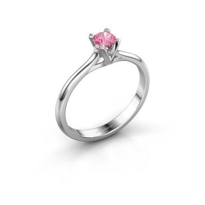 Foto van Verlovingsring Isa 1 585 witgoud roze saffier 4 mm