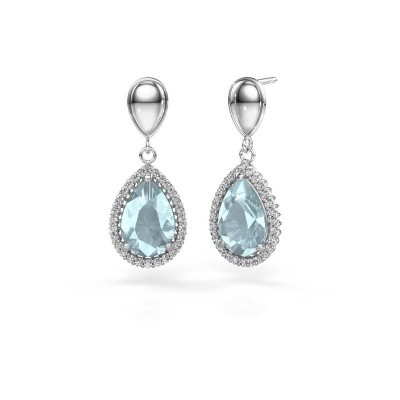 Picture of Drop earrings Cheree 1 950 platinum aquamarine 12x8 mm