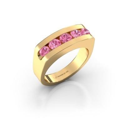 Foto van Heren ring Richard 375 goud roze saffier 4 mm