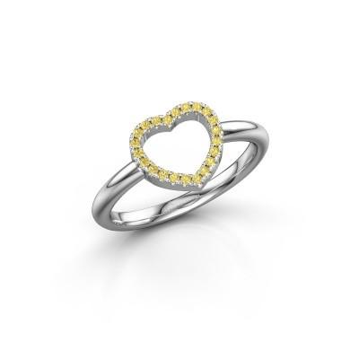 Foto van Ring Heart 7 925 zilver gele saffier 1 mm