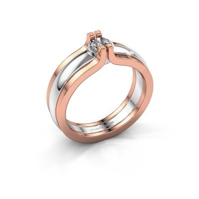 Ring Jade 585 witgoud diamant 0.25 crt