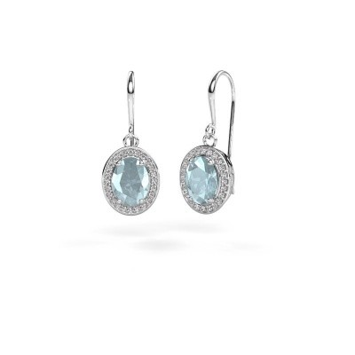 Picture of Drop earrings Latesha 375 white gold aquamarine 8x6 mm