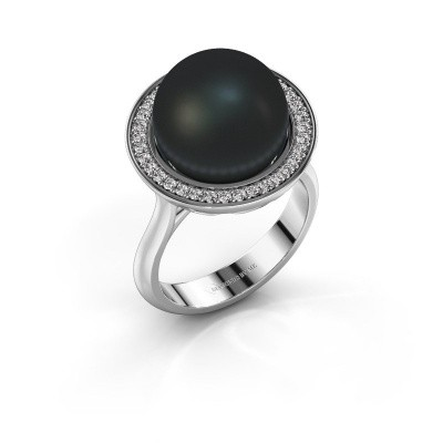 Foto van Ring Grisel 375 witgoud zwarte parel 12 mm