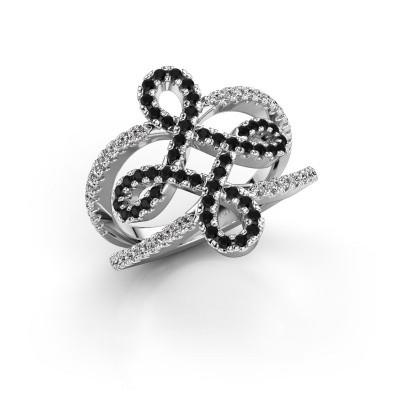 Foto van Ring Chantay 950 platina zwarte diamant 0.792 crt