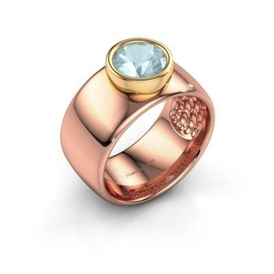 Foto van Ring Klarinda 585 rosé goud aquamarijn 7 mm
