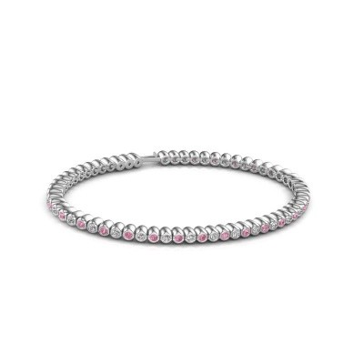 Foto van Tennisarmband Trix 585 witgoud roze saffier 2 mm