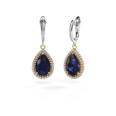 Picture of Drop earrings Hana 2 585 gold sapphire 12x8 mm