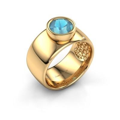 Foto van Ring Klarinda 585 goud blauw topaas 7 mm