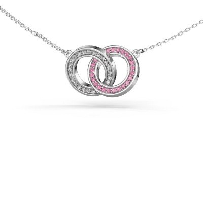 Picture of Necklace Circles 2 585 white gold pink sapphire 1 mm