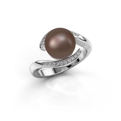 Foto van Ring Dedra 950 platina bruine parel 9 mm