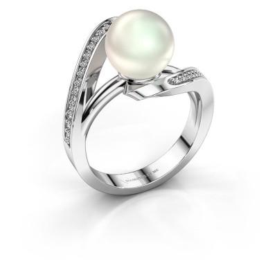 Foto van Ring Amber 585 witgoud witte parel 9 mm