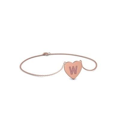 Foto van Armband Initial Heart 375 rosé goud roze saffier 1 mm