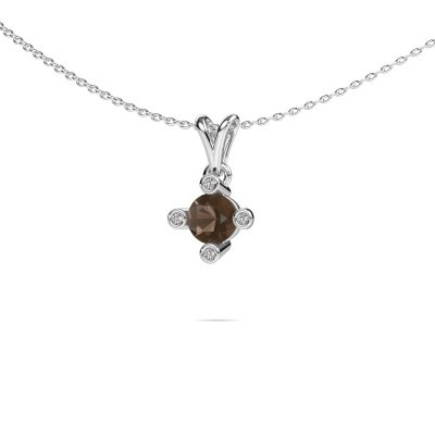 Picture of Pendant Cornelia Round 375 white gold smokey quartz 5.5 mm