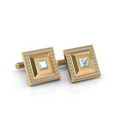 Picture of Cufflinks Joris 585 gold aquamarine 4 mm