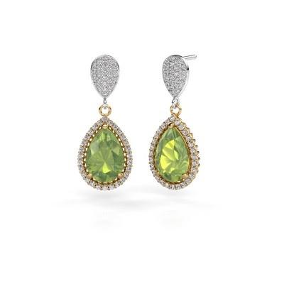 Picture of Drop earrings Cheree 2 585 gold peridot 12x8 mm