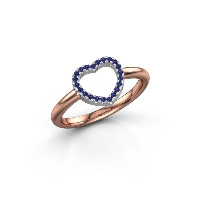 Foto van Ring Heart 7 585 rosé goud saffier 1 mm