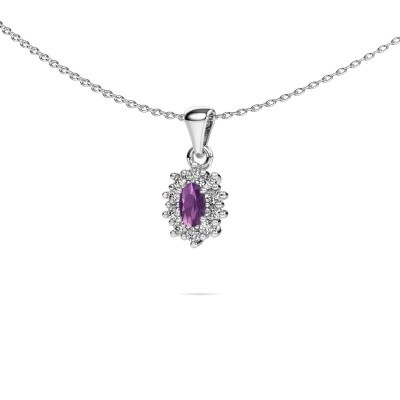 Picture of Necklace Leesa 925 silver amethyst 6x4 mm