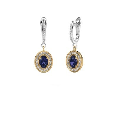 Picture of Drop earrings Layne 2 585 gold sapphire 7x5 mm