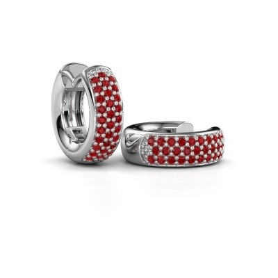 Picture of Hoop earrings Lana 585 white gold ruby 1.1 mm