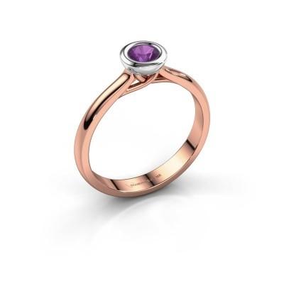 Foto van Verlovings ring Kaylee 585 rosé goud amethist 4 mm
