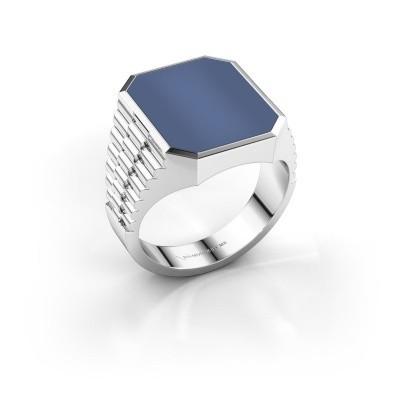 Foto van Rolex stijl ring Brent 4 585 witgoud blauw lagensteen 16x13 mm