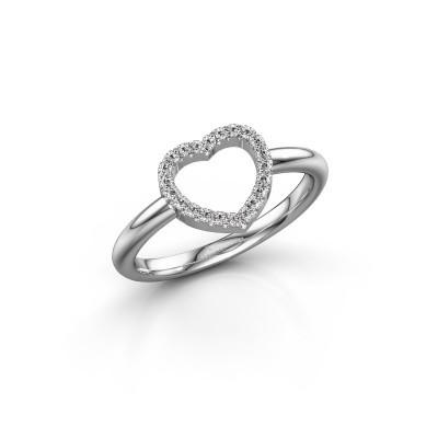 Foto van Ring Heart 7 950 platina zirkonia 1 mm
