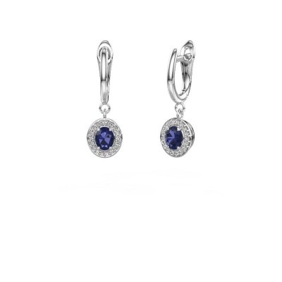 Picture of Drop earrings Nakita 585 white gold sapphire 5x4 mm